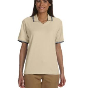 Ladies' Tipped Perfect Pima Interlock Polo Thumbnail