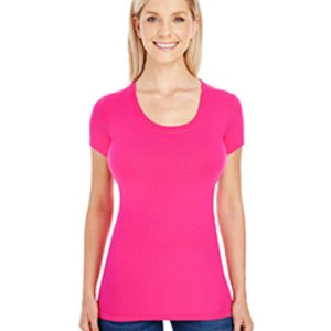 Ladies' Spandex Short-Sleeve Scoop Neck T-Shirt Thumbnail